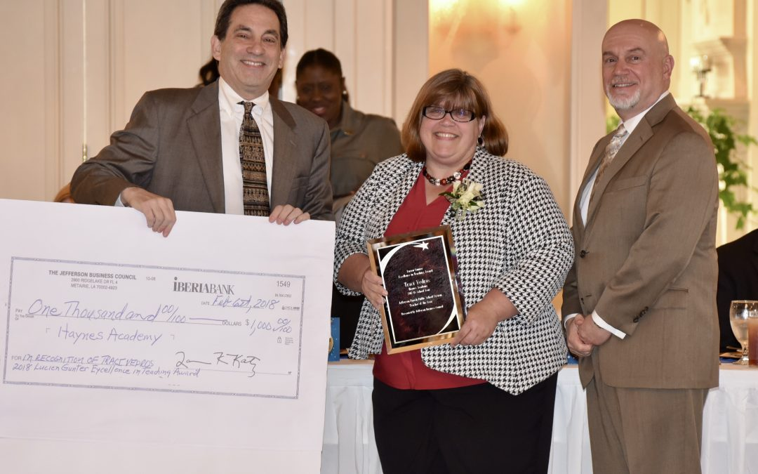 The Jefferson Business Council presented the Lucien Gunter Excellence In Teaching Award